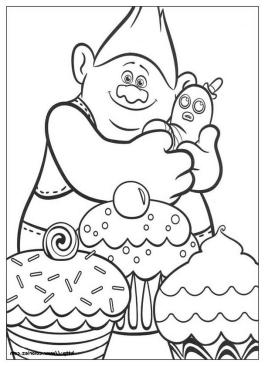 Trolls Coloring Pages Trolls Love Cupcakes