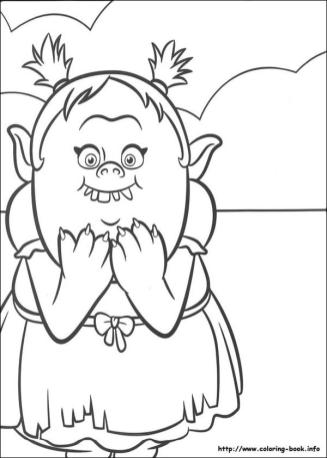 Trolls Coloring Pages for Kids Bridget Funny Troll Girl