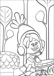 Trolls Coloring Pages for Kids DJ Suki Playing Some Music