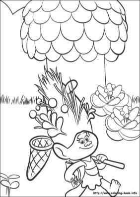Trolls Coloring Pages for Kids Troll Holding a Bug Net
