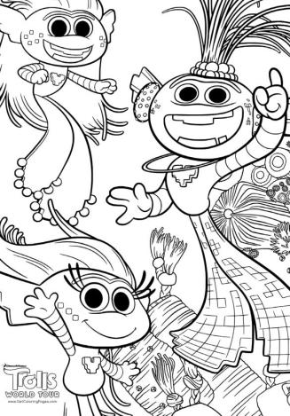 Trolls World Tour Movie Coloring Pages Free to Print