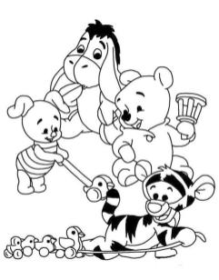 Winnie the Pooh Coloring Pages Free Baby Pooh and Friends