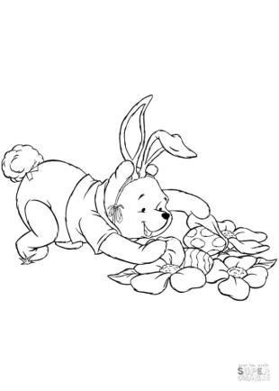 Winnie the Pooh Coloring Pages Pooh Found a Couple of Easter Eggs