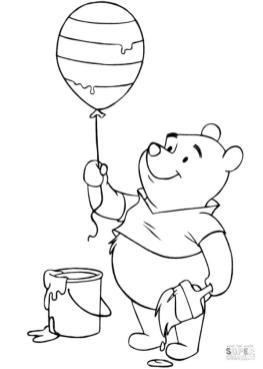 Winnie the Pooh Coloring Pages Pooh just Painted a Balloon