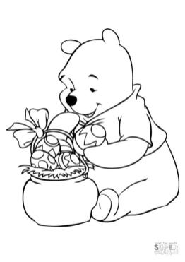 Winnie the Pooh Coloring Pages Pooh with Easter Basket
