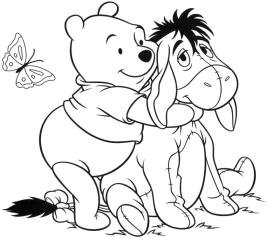 Winnie the Pooh and Friends Coloring Pages Pooh Hugging Eeyore