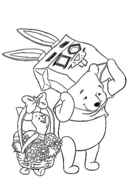 Winnie the Pooh and Friends Coloring Pages Pooh and Piglet Celebrating Easter
