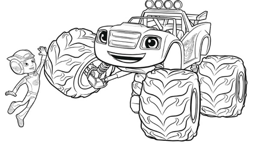 Blaze Coloring Pages Online Blaze and AJ High Five