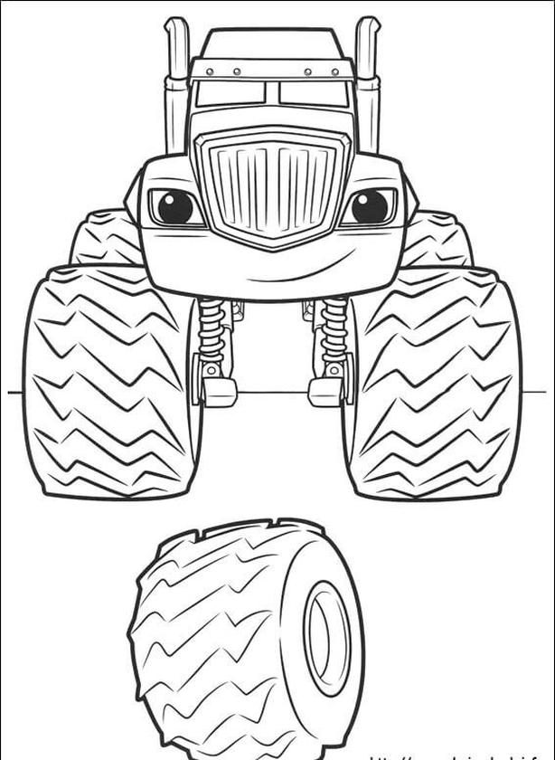 Blaze and the Monster Machines Coloring Pages Blaze Spare Tire