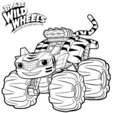 Blaze and the Monster Machines Coloring Pages Stripes the Tiger Truck