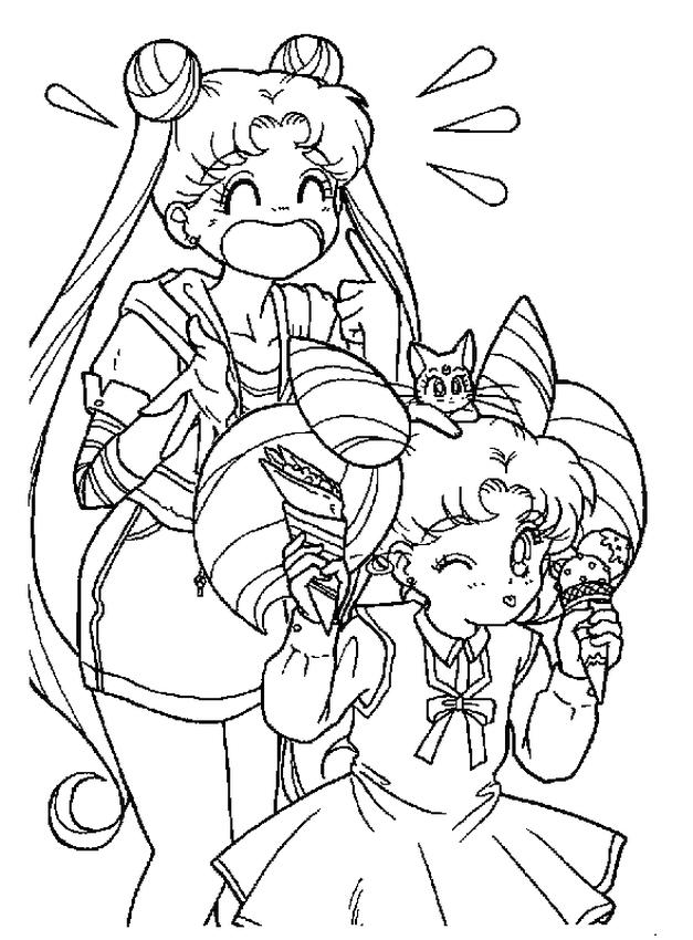 Cute Sailor Moon Coloring Pages The Girls Eating Ice Cream