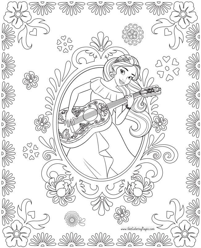Disney Elena of Avalor Coloring Page Elena Playing Guitar Like Maestro