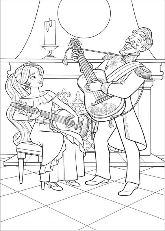 Elena of Avalor Coloring Pages Elena Playing Guitar with Her Dad