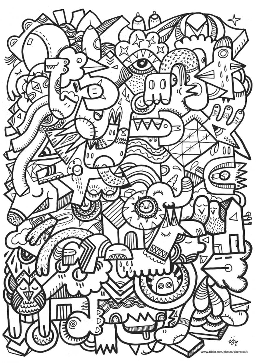 Hard Coloring Pages Abstract Animal Doodle