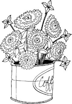 Hard Coloring Pages Online Flowers in a Can