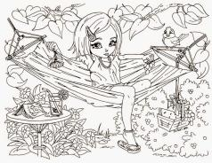 Hard Coloring Pages Online Little Girl Chilling on a Hammock