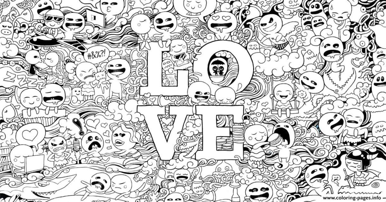 Hard Coloring Pictures for Adults Emoji Character Doodle