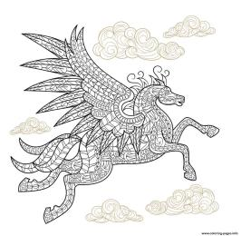 Hard Coloring Pictures for Adults Pegasus Zentangle Art