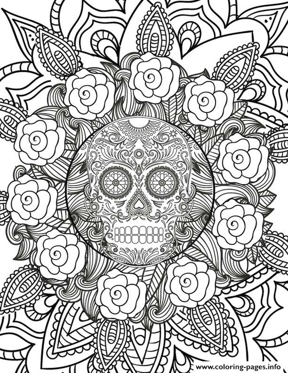 Hard Coloring Pictures for Adults Sugar Skull amd Flowerts