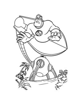 Incredibles Coloring Pages Printable Fighting with a Robot