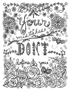 Inspirational Coloring Pages for Adult Your Mistakes Dont Define You