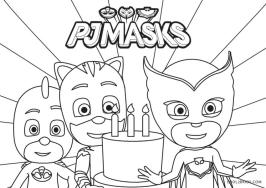 PJ Masks Coloring Pages Black and White Happy Birthday