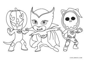 PJ Masks Coloring Pages Black and White Happy Halloween Everybody