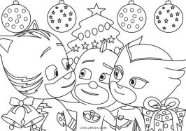 PJ Masks Coloring Pages Black and White Merry Christmas