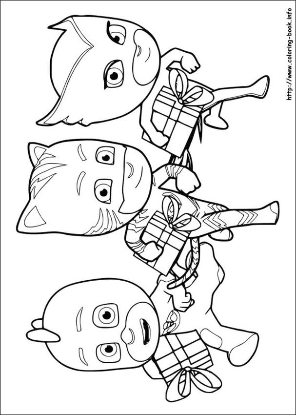 PJ Masks Coloring Pages Free Printable The Heroes Get Gifts