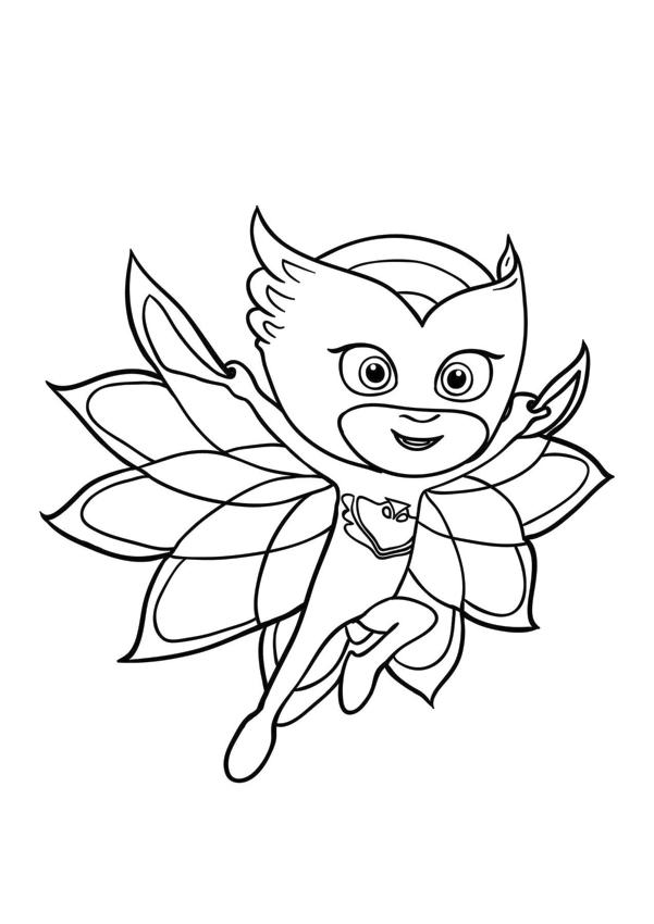 PJ Masks Coloring Pages Printable Cute Owlette Spreading Her Wings