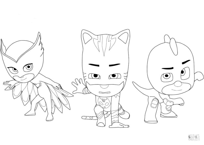 PJ Masks Coloring Pages Three Musketeer Owlette Catboy and Gecko