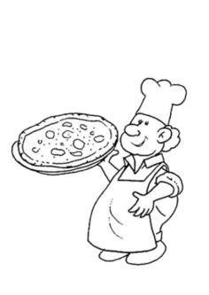 Pizza Coloring Pages Printable Chef Holding a Pizza