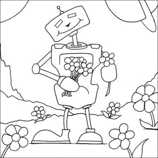 Robot Coloring Book Pages Robot Holding Flowers for You