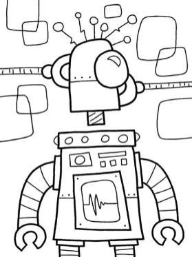 Robot Coloring Book Pages Weird Looking Robot