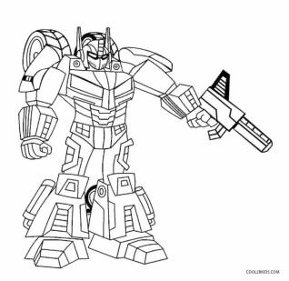 Robot Coloring Pages Printable Little Optimus Prime