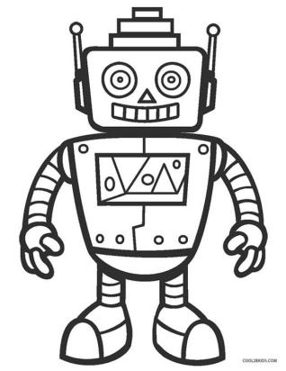 Robot Coloring Pages Printable Smiling Robot with Pyramid Head