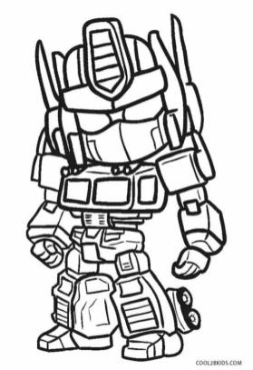 Robot Coloring Pages Printable Tiny Little Optimus from Transformers