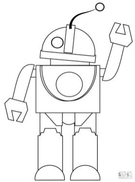 Robot Coloring Pages Robot Waving His Hand