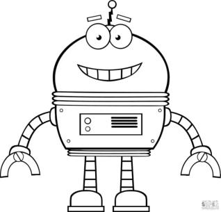 Robot Coloring Pages Smiling Robot