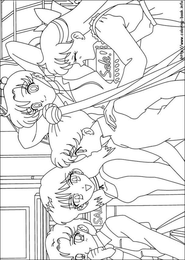 Sailor Moon and Friends Coloring Pages Every One Hanging Out