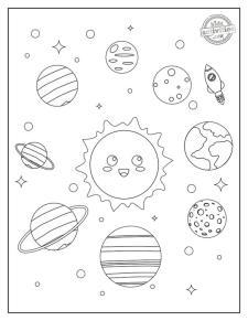 Solar System Coloring Worksheet for Kindergarten sml1