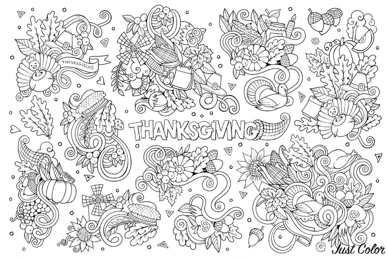 Thanksgiving Adult Coloring Pages Hard Thanksgiving Doodle