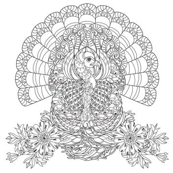 Thanksgiving Coloring Pages for Adult Difficult Art Drawing of a Turkey in Her Nest