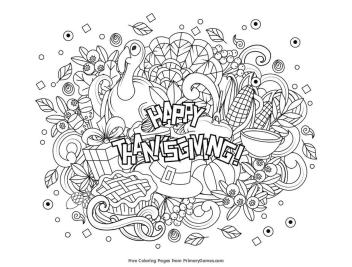Thanksgiving Coloring Pages for Adult Happy Thanksgiving Doodle Card