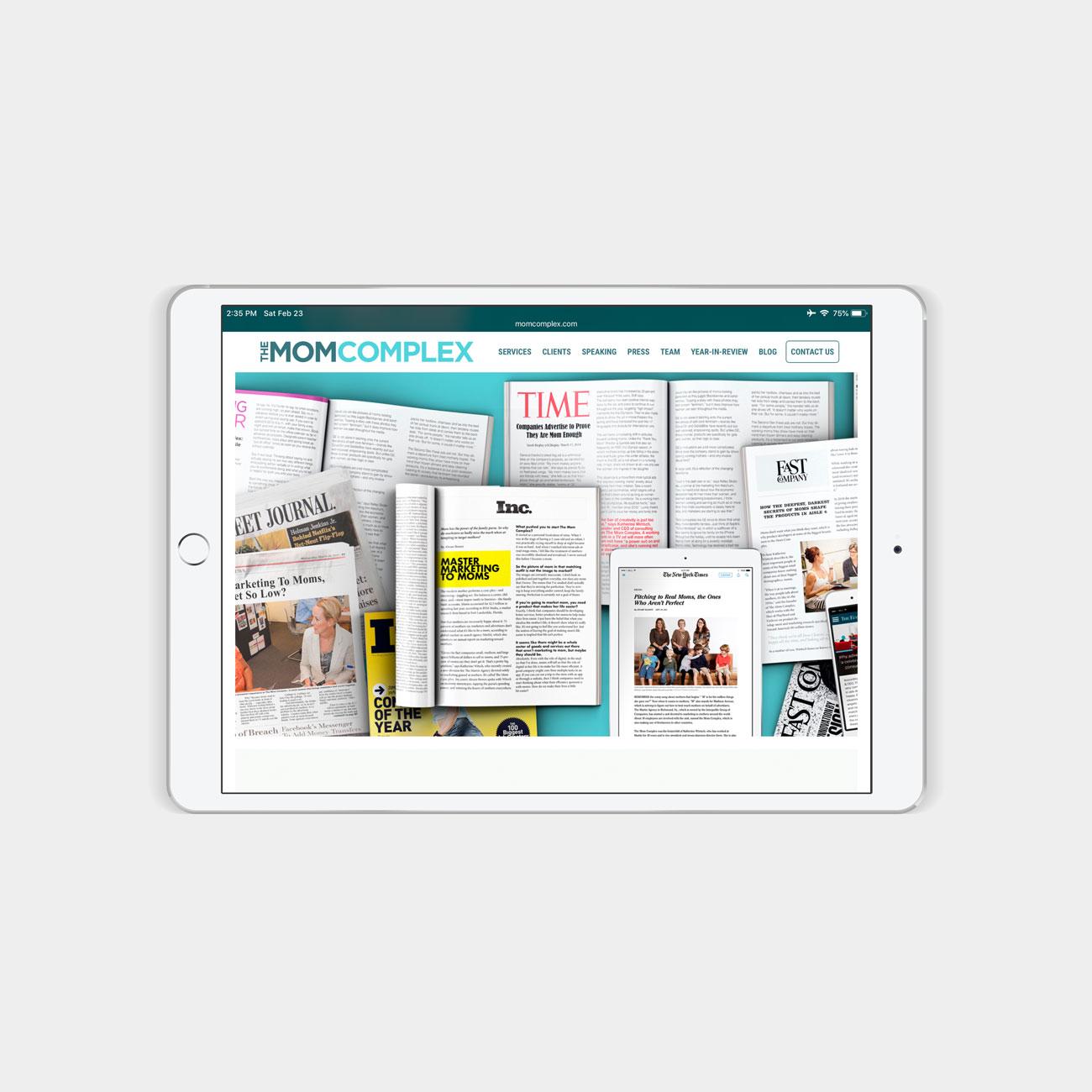 Mom Complex website on iPad