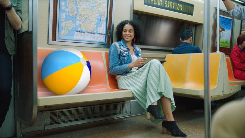 TV Still of woman on subway
