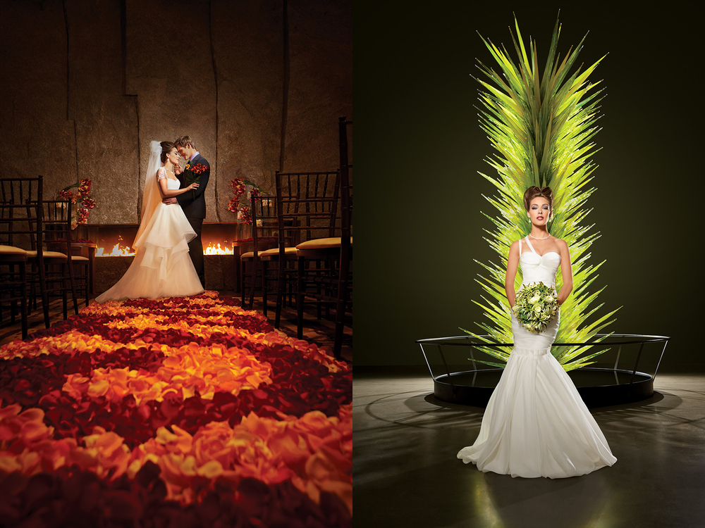 Flower alter and Chihuly sculpture