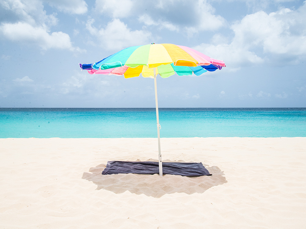 Beach umbrella in Anguilla