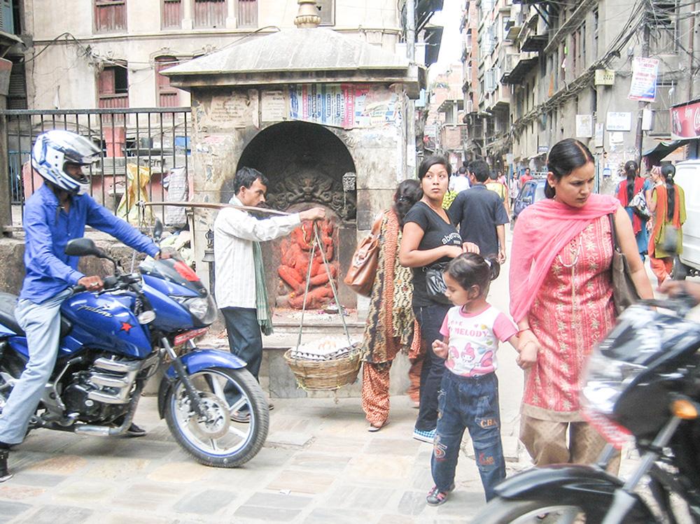 People crossing street in Kathmandu, Nepal