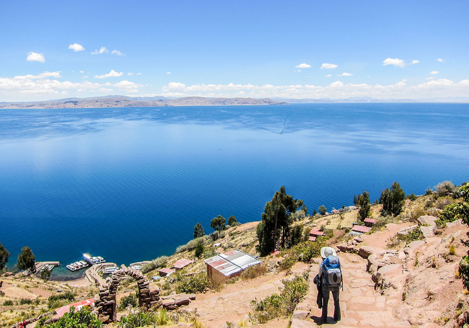 woman overlooking Lake Titicaca